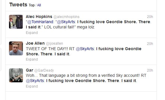 This is a selection of retweets of the unfortunate Sky Arts post.